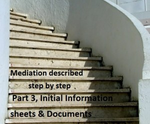 Mediation described step by step: Part 3, Initial information sheets and documents