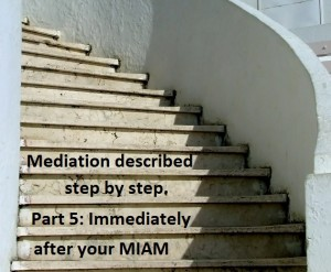 Mediation described step by step. Part 5, Immediately after your MIAM